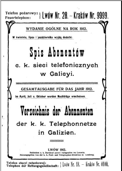 spis abonentów 1912