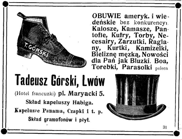 Obuwie_kamizelki_ogłoszenie 1912